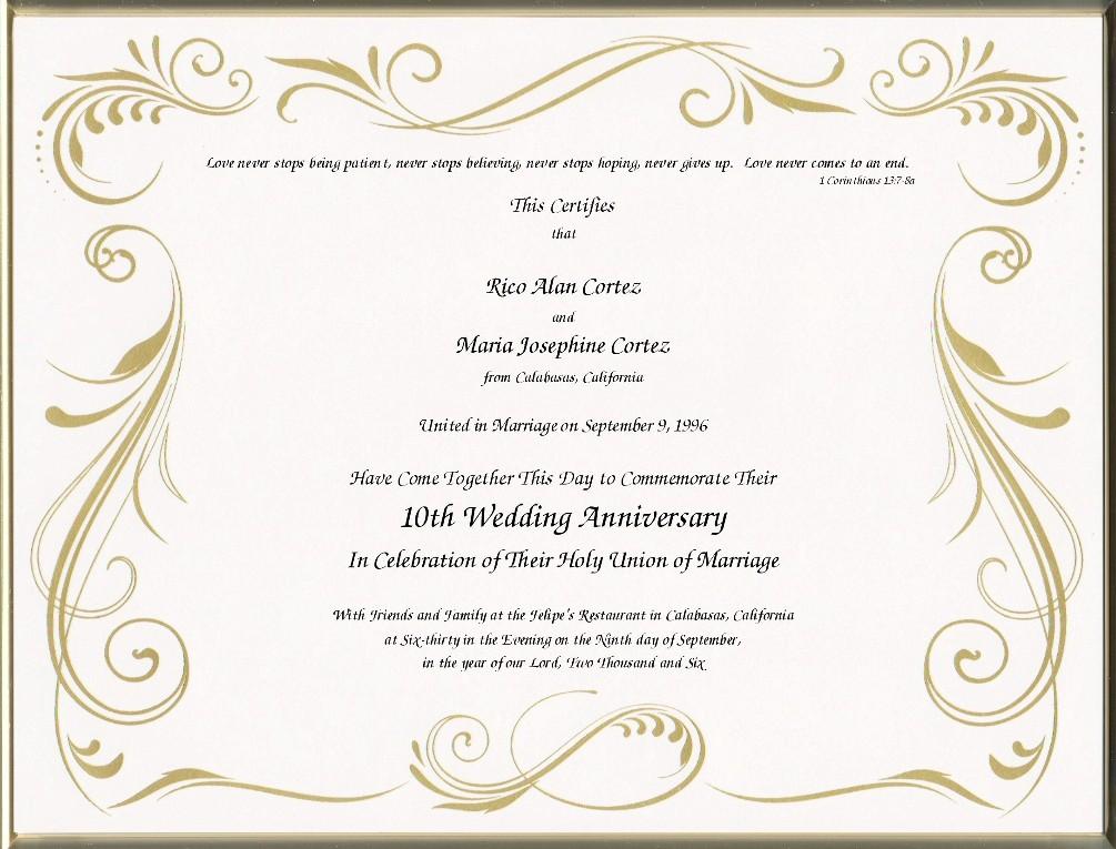 keepsake wedding anniversary 8 5 x 11 inch certificate golden