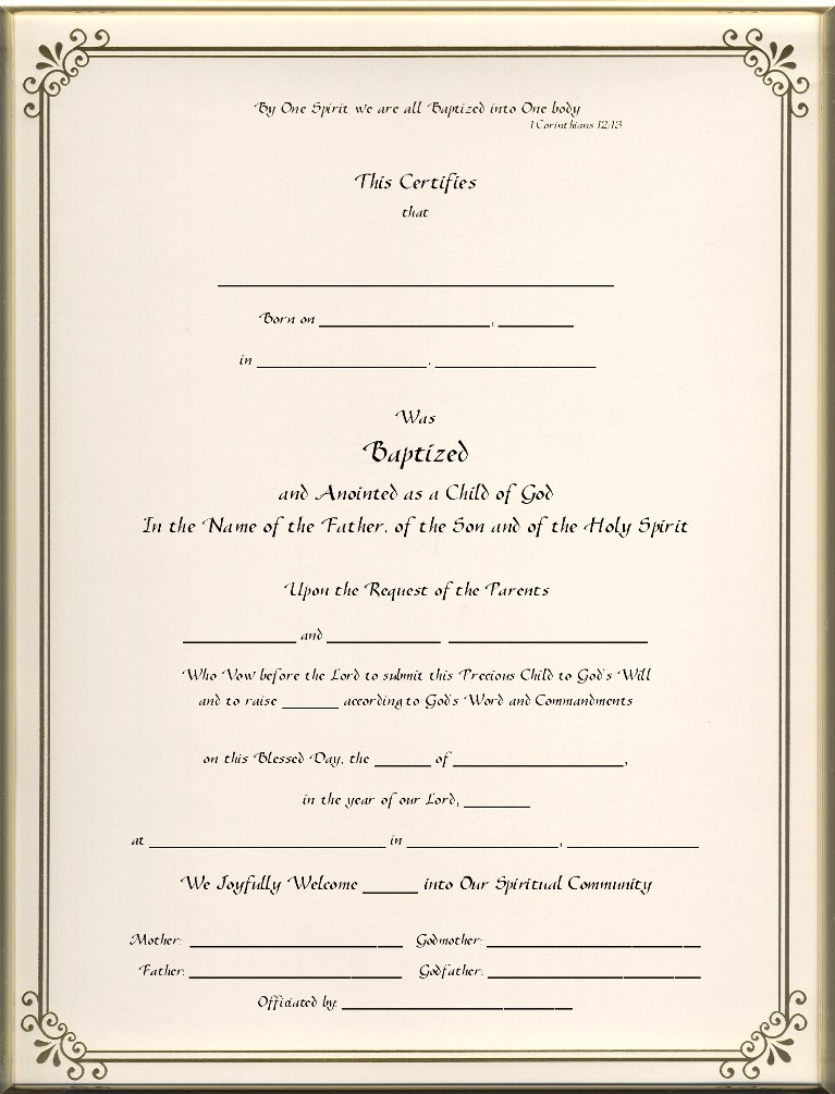 Baptism Certificates Main Page