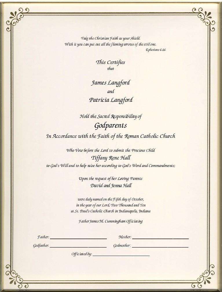 Catholic Godparent Certificates Page 1 Foil